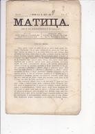 SERBIA  --  ,,  MATICA  ,,  SERBIAN NEWSPAPER, ZEITUNG    --  NOVI SAD  --  1867  --  16 PAGES - Serbien