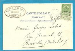 56 Op Kaart (Olloy) Met Stempel VIERVES Met Privestempel EMILE FRIAND / BRASSEUR / OIGNIES - 1893-1907 Armoiries