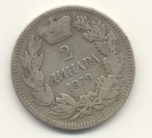 SERBIE   2 Dinara 1879  ARGENT // SILVER - Serbie