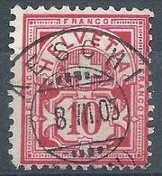 Ziffer 61B, 10 Rp.zinnober  AESCHI (BERN)      1905 - Usati