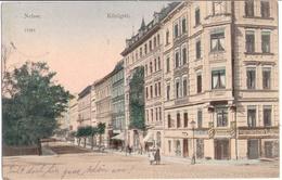 NEISSE Schlesien Nysa Königstrasse Color Belebt Geschäfte Handwerker 3.10.1905 Gelaufen - Schlesien