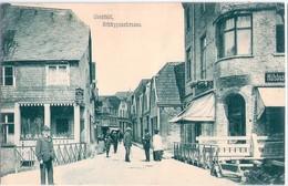 COESFELD Schüppenstraße Belebt Grünlich Hinweisschild Auf Hotel Schwartz 1912 - Coesfeld