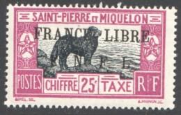 Taxe 52  - Chien De Terre-Neuve 25 C Surchargé  «FRANCE LIBRE  / F.N.F.L.»  * Rare Signé - Postage Due