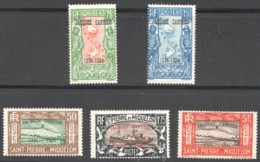 SPM  1934 Série Jacques Cartier Yv 159A-E  *  Très Bien Centrés - St.Pierre & Miquelon