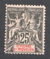 SPM  Groupe 25 Cent Yv 66 * Faux De Fournier - Unused Stamps