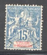 SPM  Groupe 15 Cent  Bleu Yv 64 Oblit.  Faux De Fournier - Used Stamps