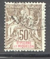SPM  Groupe  50 Cent.  Bistre Sur Azuré   Yv 77 Oblit.    Faux De Fournier - Used Stamps