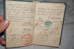 Beau Petit Carnet D'ouvrière MANUFACTURE DE TABAC IMPÉRIALE 1852 - Manuscripts