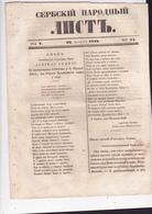 SERBIA  --  ,,  SERBSKI NARODNI LIST ,,   SERBIAN NEWSPAPER, ZEITUNG   --  1840  --  8  PAGES, SEITEN, STRANICA - Serbien