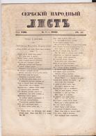 SERBIA  --  ,,  SERBSKI NARODNI LIST ,,   SERBIAN NEWSPAPER, ZEITUNG   --  1843  --  8  PAGES, SEITEN, STRANICA - Serbien