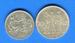 Tchécoslovaquie  2  Pieces  Arg - Tchécoslovaquie