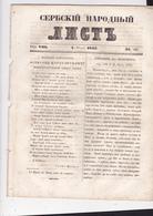 SERBIA  --  ,,  SERBSKI NARODNI LIST ,,   SERBIAN NEWSPAPER, ZEITUNG   --  1843  --  14  PAGES, SEITEN, STRANICA - Serbien