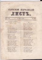 SERBIA  --  ,,  SERBSKI NARODNI LIST ,,   SERBIAN NEWSPAPER, ZEITUNG   --  1843  --  4  PAGES, SEITEN, STRANICA - Serbien