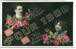 Belle Fantaisie Kunzli - Voeux De Mariage Pour 1908 - Couple Décor De Roses - Reproduction De Timbres - Briefmarken (Abbildungen)