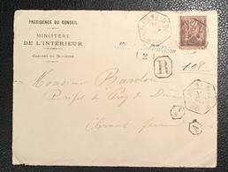 """""""PARIS 9 R. DU Fg ST HONORE 100""""lettre En FRANCHISE + RECOMMANDÉ RR ! Type Sage 1894(recettes Auxiliaire Urbaines - Marcophilie (Lettres)"""