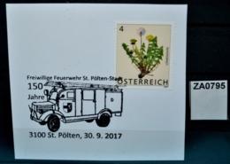 ZA0795 150 Jahre Feuerwehr St. Pölten, Feuerwehrauto, 3100 St. Pölten AT 30.9.17 - Poststempel - Freistempel