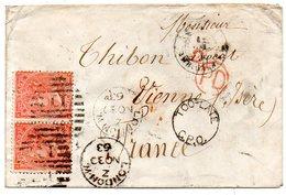 J119  GB  1863 Enveloppe Avec Paire SG 22  Corner Letters JE KE - 1840-1901 (Victoria)