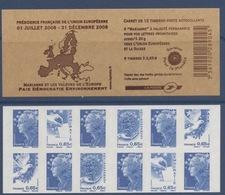 N° 1517 Carnet Présidence Française Union Européenne Auto Adhésif   Faciale 0,65 € X 6 + Europe X 6 - Carnets