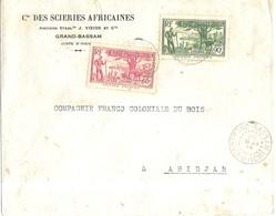 COTE D IVOIRE GRAND BASSAM POUR ABIDJAN  - ENVELOPPE A ENTETE CIE DES SCIERIES AFRICAINES 1943 - REGION COTIERE ( 2 ) - Côte-d'Ivoire (1892-1944)