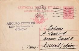 Italie - Carte Postale De Genova Pour Arcueil (94) - 3 Juillet 1919 - Préaffranchie 10c YT 77 - 1 CAD - 1900-44 Victor Emmanuel III