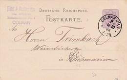 Allemagne - Postkarte De Colmar (68) Pour Reichenweier (68) - 16 Octobre 1886 - Préaffranchie 5p - 2 CAD -Alsace Occupée - Entiers Postaux