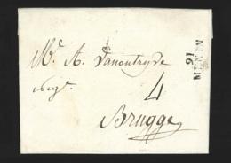 Préphilatélie -  L. Datée 1813 Avec Marque 91/MENIN Pour Brugge - 1794-1814 (Französische Besatzung)
