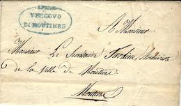 """1827- Duché De Savoie - Lettre En Franchise R.Poste """" Vescovo /di MOUTIERS """" Bleu -lettre Locale - Postmark Collection (Covers)"""