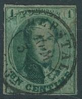 N°9, 1c Vert Margé (défaut) Càd HERSTAL. Superbe Obl. - 1858-1862 Medaillen (9/12)