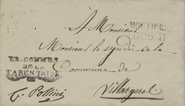 """1841- Duché De Savoie - Lettre En Franchise De MOUTIERS /AGOS11 """" Le COMM.t De LA TARENTAISE"""" - Postmark Collection (Covers)"""