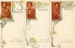Lot De 3 Menus Vierges - Style Art Noiuveau - Menus