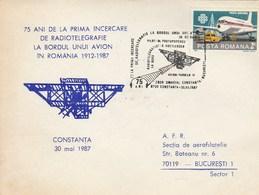 RADIOTELEGRAPHIE Avion FARMAN IV  Vol Omagial Constanta - Bucuresti 75 Anniversaire 1912- 1987 Cachet Special  Roumanie - Aéreo