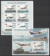 UC108 2008 UNION DES COMORES AVIATION LES GRAND AEROPORTS 1KB+1BL MNH - Airplanes