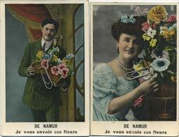 NAMUR :  Je Vous Envoie Ces Fleurs  (  2  Cartes ) Ecrit Avec Timbre 1910 - Namur