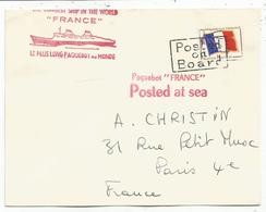 FM DRAPEAU  LETTRE GRIFFE POSTED ON BOARD + PAQUEBOT FRANCE - Franchise Militaire (timbres)