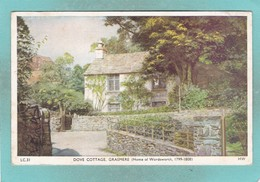 Small Old Post Card Of William Wordsworth's Family Home,Dove Cottage,Grasmere.Cumbria.,S94. - Cumberland/ Westmorland