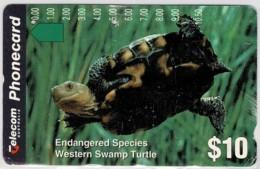 Australia 1994 Endangered Species $10 Western Swamp Turtle Phonecard Used - Australia