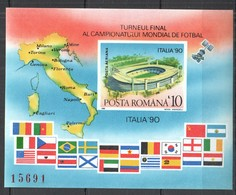 RM009 !!! IMPERFORATE 1990 ROMANIA SPORT FOOTBALL WORLD CUP ITALY 90 BL262 MICHEL 15 EURO MNH - Copa Mundial