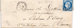 G.C. 1051 CLERMONT DE L'OISE Sur N°60,L.A.C. Du 12/12/73. - 1849-1876: Periodo Classico