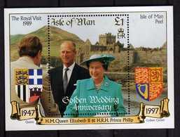 ISOLA DI MAN ISLE OF MAN 1997 ROYAL GOLDEN WEDDING NOZZE D'ORO REALI BLOCK SHEET BLOCCO FOGLIETTO BLOC FEUILLET MNH - Isola Di Man