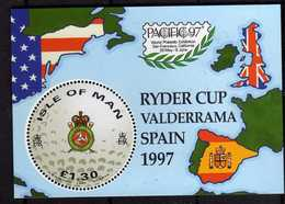 ISOLA DI MAN ISLE OF MAN 1997 RYDER CUP VALDERRAMA SPAIN SPAGNA BLOCK SHEET BLOCCO FOGLIETTO BLOC FEUILLET MNH - Isola Di Man