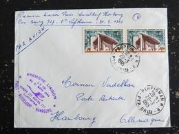 CACHET PREMIER VOL LIAISON PARIS DUSSELDORF HAMBOURG EUROPA JET BOEING 727 LUFTHANSA 31 MARS 1965 PERPIGNAN RP - Poste Aérienne