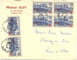 PARIS XVII RUE DUC TàD 17-2-1952 Afft  CARCASSONNE SURCHARGE 2F50/5F BLEU, BLOC De 4 + PAIRE - Postmark Collection (Covers)