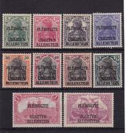 # Z.11025 Germany, Allenstein 1920 Incomplete Set Overprint, (x), Michel 1 - 3, 5 - 10, 13: Definitive Issue - Territoires Soumis à Plébiscite
