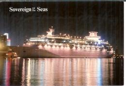 Cp Etats-unis - Sovereign Of The Seas - Company Royal Caribbean, écrite Et Timbrée USA 1988 - Dampfer