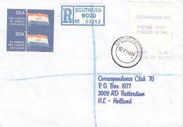 Afrique Du Sud - Lettre Recom De 1994 - Avec Vignette D'affranchissement - Oblit Southern Wood - - Vignettes D'affranchissement (Frama)