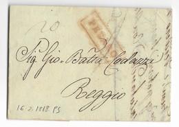 DA PESARO A REGGIO - 16.2.1818. - Italia