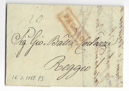DA PESARO A REGGIO - 16.2.1818. - Italie