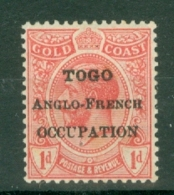 Togo: 1916/20   KGV (Gold Coast) 'Togo Anglo-French Occupation' OVPT   SG H48    1d   MH - Unused Stamps