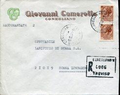 Italia (1971) - Raccomandata Da Conegliano (TV) - 6. 1946-.. Repubblica