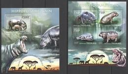 TG611 2013 TOGO TOGOLAISE WILD FAUNA OF AFRICA WILD ANIMALS HIPPOPOTAMUS KB+BL MNH - Stamps